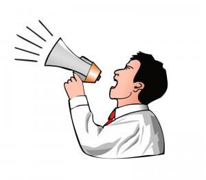 Cartoon/Comic: Mann mit Lautsprecher